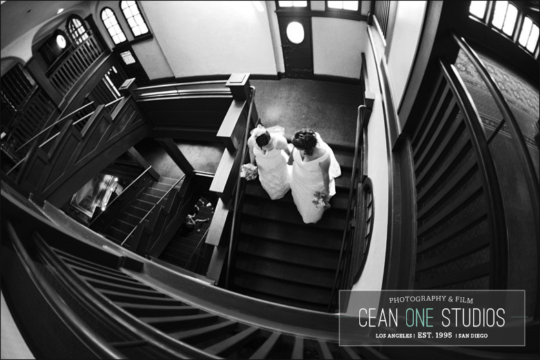 brides walking down stairs | Cean One Photography | Southern California Wedding Photographer | gay weddings