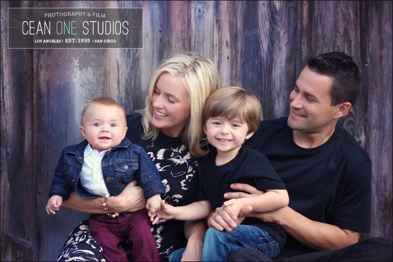 family in front of wood wall | Cean One Photography| Southern California family Photographer |family session