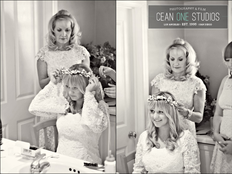 mother helping bride get ready | Cean One Photography| Southern California Wedding Photographer |Santa Barbara Wedding