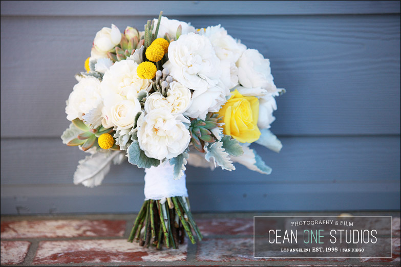 bride bouquet with yellow and white flowers | Cean One Photography| Southern California Wedding Photographer |Santa Barbara Wedding