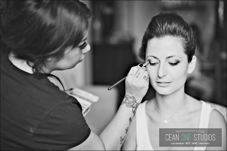 bride getting makeup done | Cean One Photography| Southern California Wedding Photographer | Temecula Wine Country Wedding