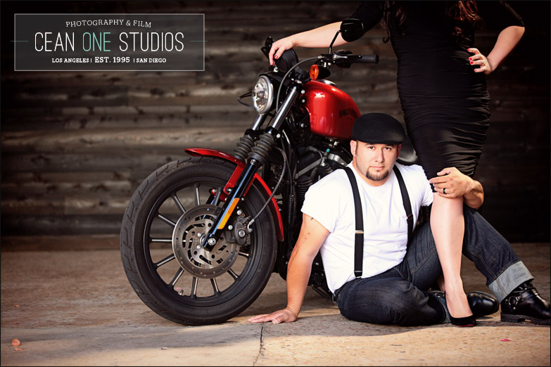 couple leaning on motorcycle | Cean One Photography| Southern California Wedding Photographer |engagement session