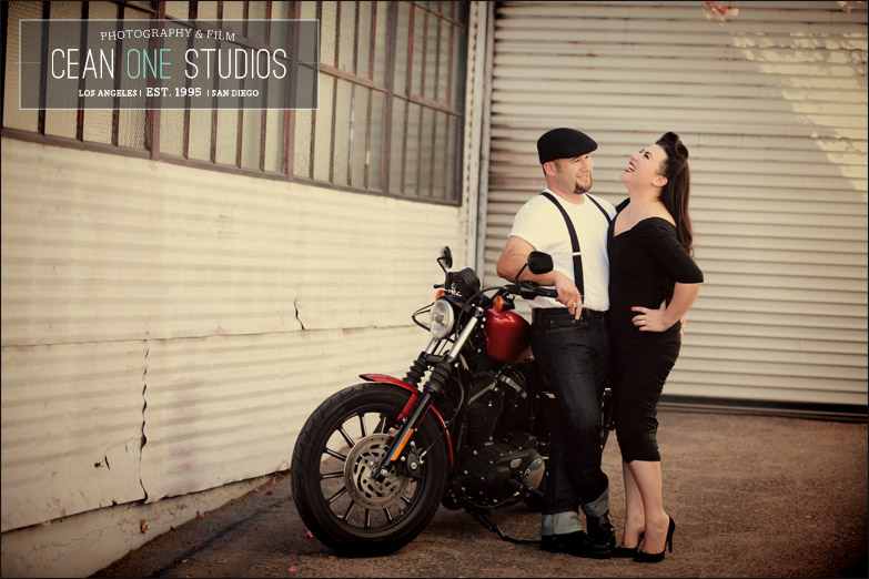 couple laughing on motorcycle | Cean One Photography| Southern California Wedding Photographer |engagement session