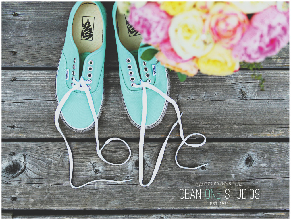 teal tennis shoes with laces spelling love | Cean One Photography| Southern California Wedding Photographer | Oregon Wedding