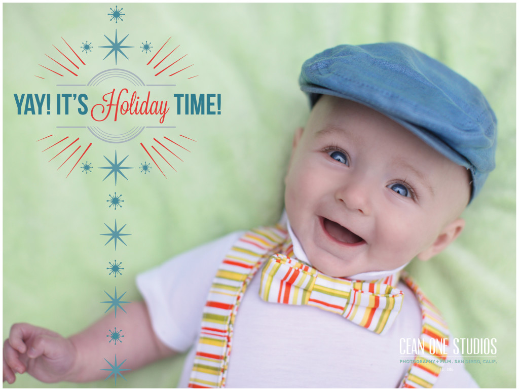 baby with blue eyes looking at camera smiling  | Cean One Photography | Southern California Photographers | holiday photos