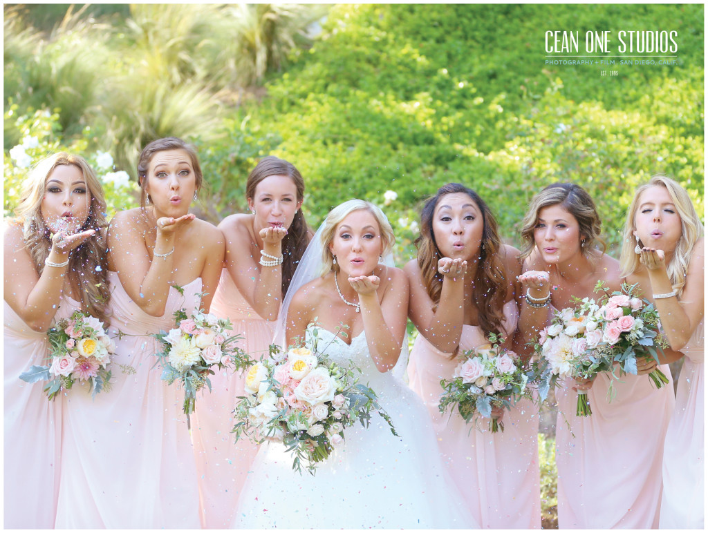 bridesmaids blowing glitter   | Cean One Photography | Southern California Photographers | love is in the air