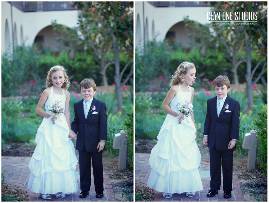 flower girl sticking out tounge at ring bearer  | Cean One Photography | Southern California Photographers