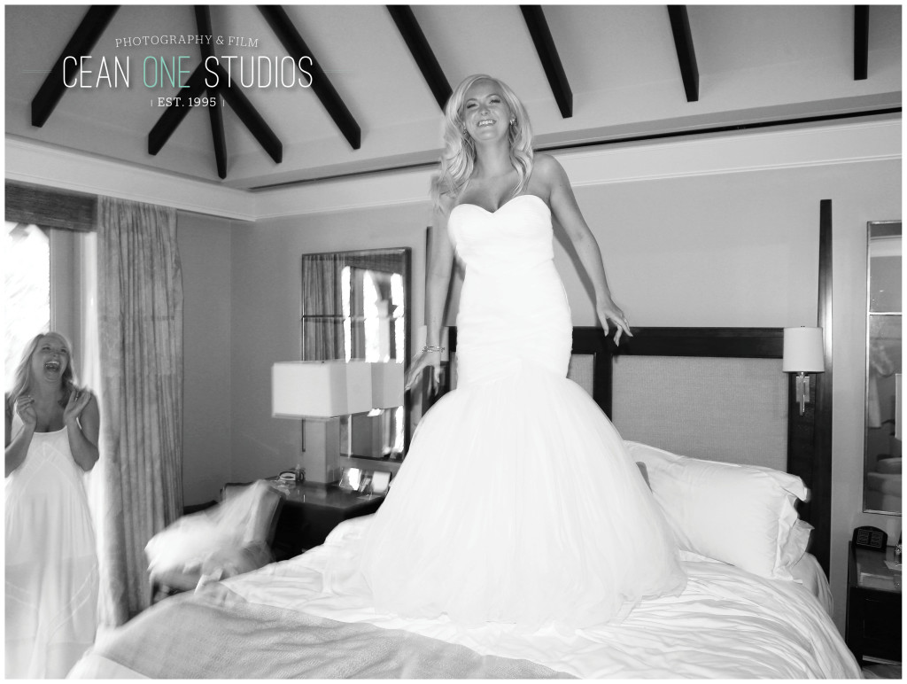 Bride jumping on a bed | Cean One Photography | Destination Photographer