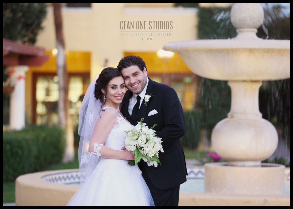 bride and groom by fountain | Destination Wedding Photographer