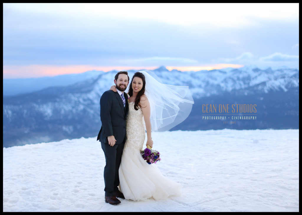 bride and groom smiling on mountain | Destination Wedding Photographer