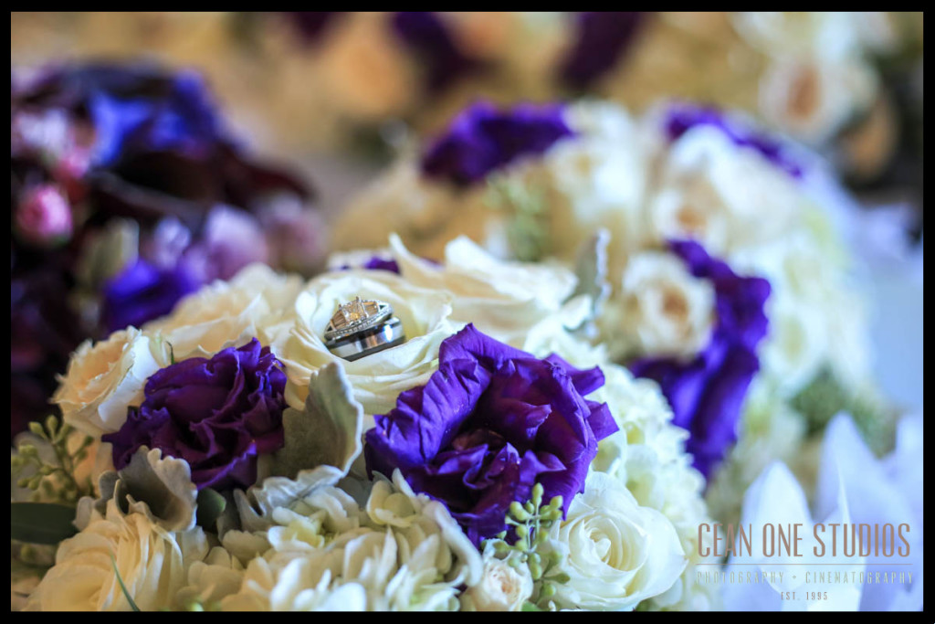 Rings in purple bouquet | Mission Inn Wedding Photographer