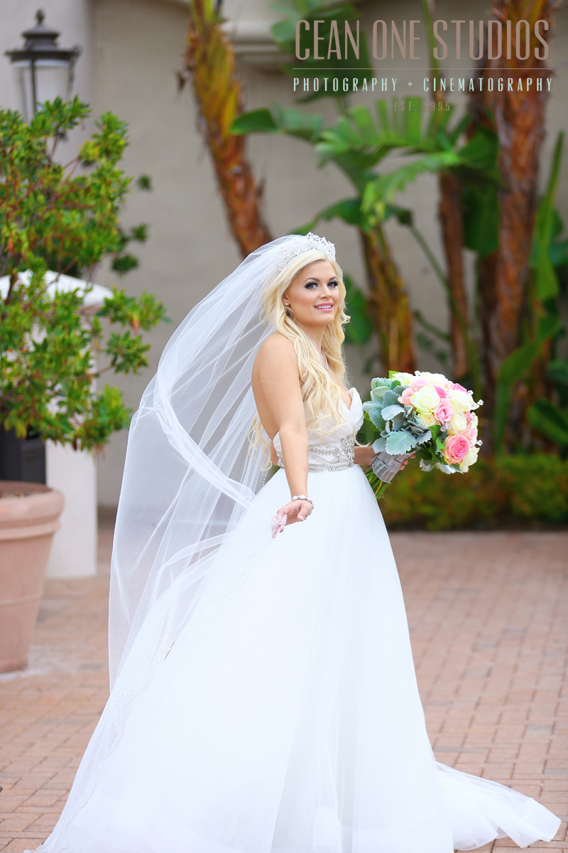 bride with long veil  | Pelican Hill Wedding | Cean One Photography