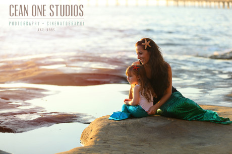 Mom and daughter in mermaid tails | Mother's Day Photography | Cean One Photography