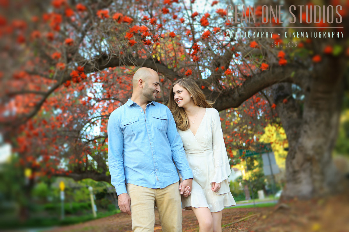 engaged couple in park | Cean One Photography | San Diego Wedding Photographer