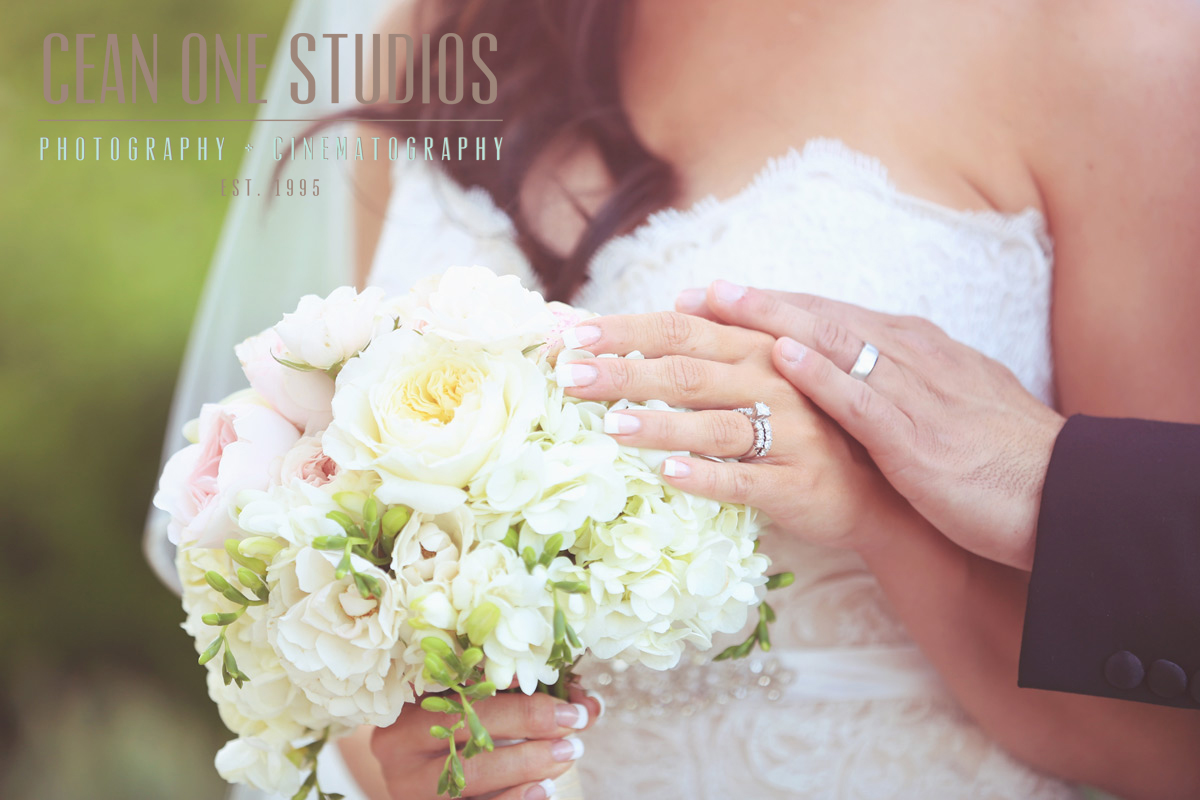 bride and groom rings on bouquet | Cean One Photography | San Diego Wedding Photographer
