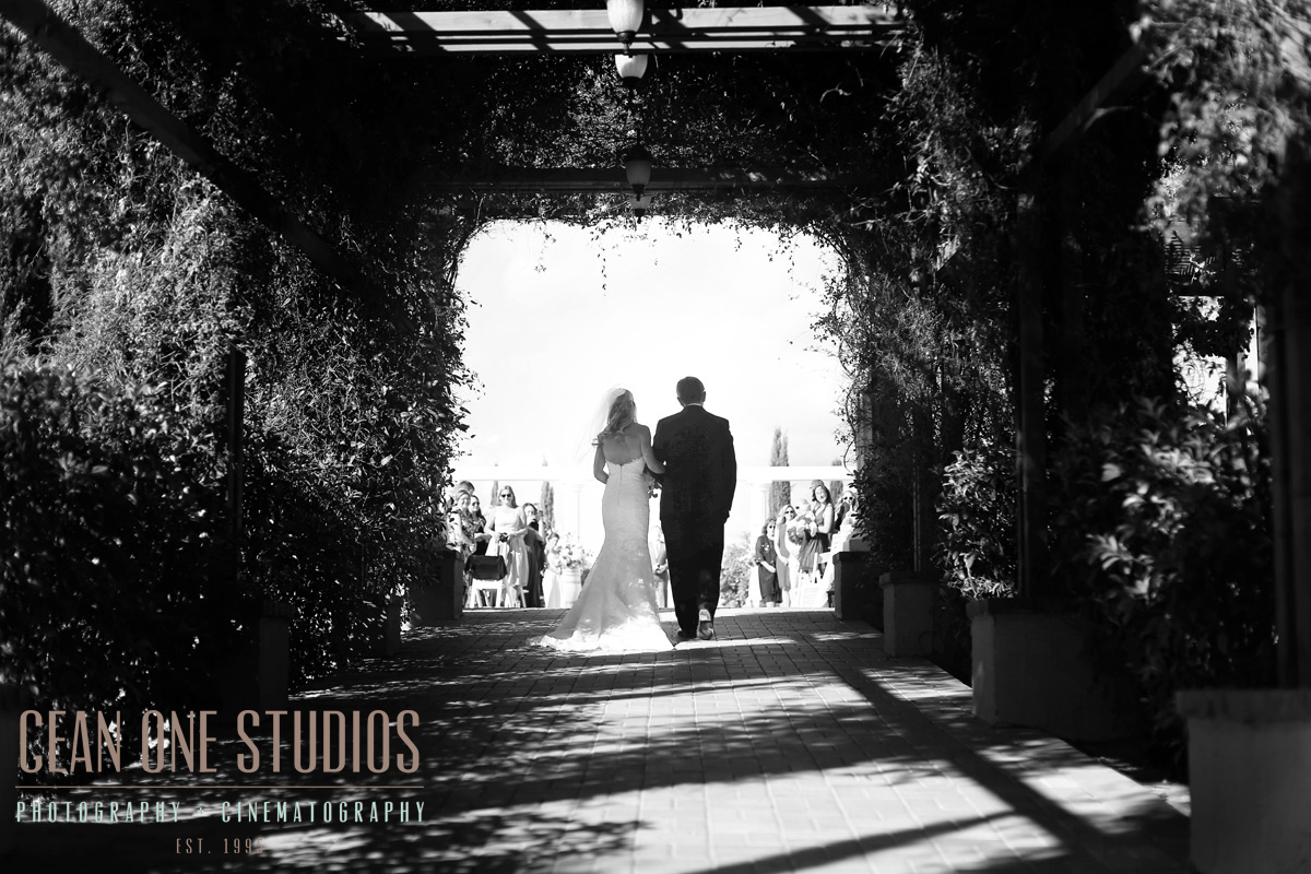black and white bride walking down isle | Mount Palomar Winery Photography | Cean One Wedding Photography | Southern California Wedding Photographer
