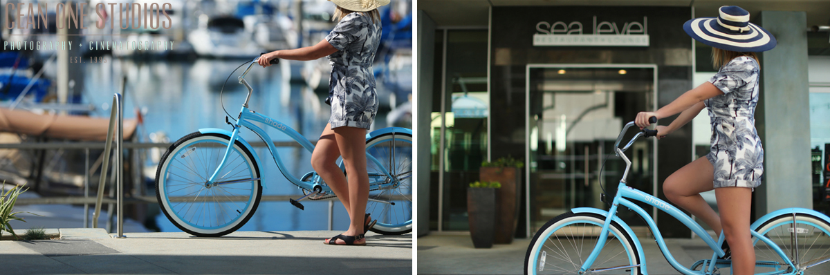 woman on bike | shade hotel renando beach | los angeles wedding photographer